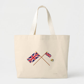 UK and British Antarctic Territory Crossed Flags Canvas Bags
