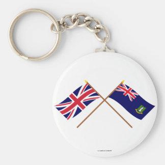 UK and British Virgin Islands Crossed Flags Key Chain