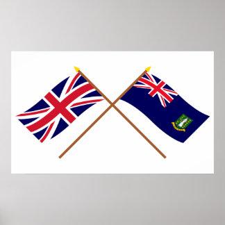 UK and British Virgin Islands Crossed Flags Posters