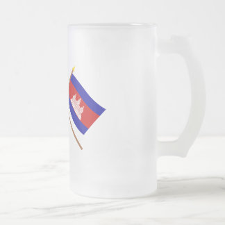 UK and Cambodia Crossed Flags Frosted Glass Beer Mug