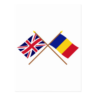 UK and Chad Crossed Flags Postcard