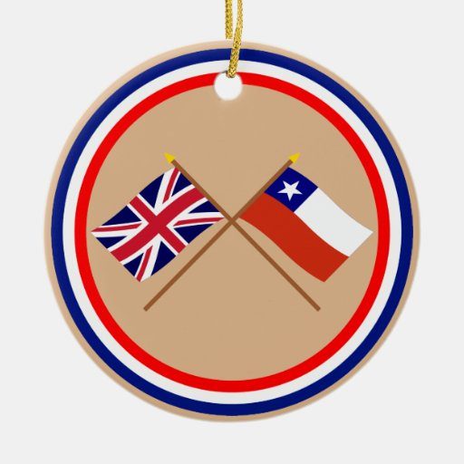 UK and Chile Crossed Flags Christmas Ornaments