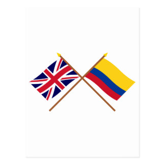 UK and Colombia Crossed Flags Postcard