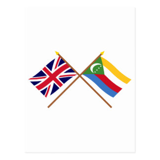 UK and Comoros Crossed Flags Postcard