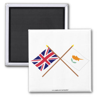 UK and Cyprus Crossed Flags Square Magnet