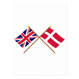 UK and Denmark Crossed Flags Postcard