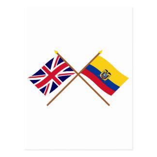 UK and Ecuador Crossed Flags Postcard