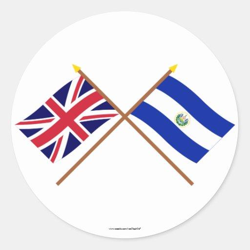 UK and El Salvador Crossed Flags Sticker
