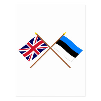UK and Estonia Crossed Flags Postcard