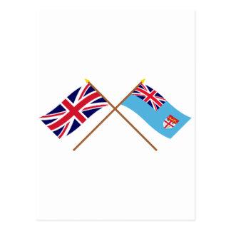 UK and Fiji Crossed Flags Postcard