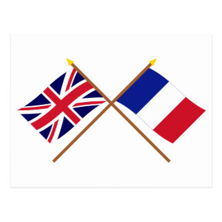 UK and France Crossed Flags Postcard