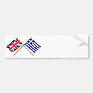 UK and Greece Crossed Flags Bumper Stickers