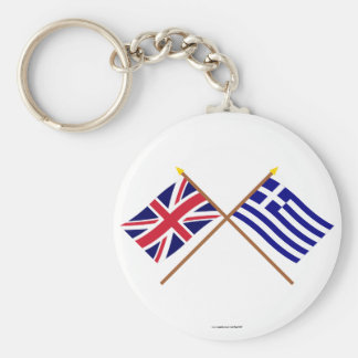 UK and Greece Crossed Flags Key Chains