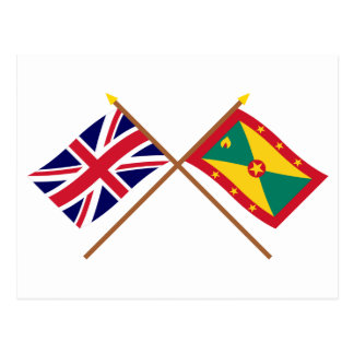 UK and Grenada Crossed Flags Postcard