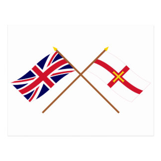 UK and Guernsey Crossed Flags Postcard
