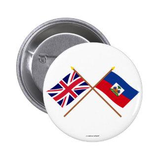 UK and Haiti Crossed Flags Pin