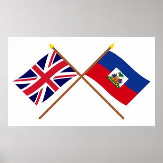 UK and Haiti Crossed Flags Poster