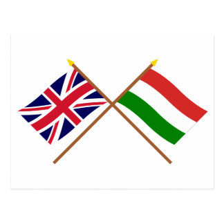 UK and Hungary Crossed Flags Postcard