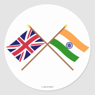 UK and India Crossed Flags Round Sticker
