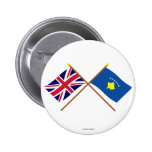 UK and Kosovo Crossed Flags Button