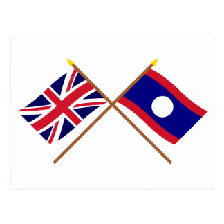 UK and Laos Crossed Flags Postcard