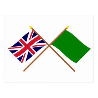 UK and Libya Crossed Flags Postcard