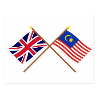 UK and Malaysia Crossed Flags Postcard