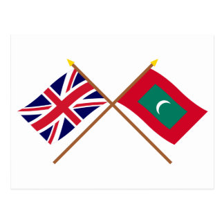UK and Maldives Crossed Flags Postcard