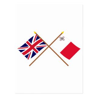 UK and Malta Crossed Flags Postcards