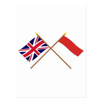 UK and Monaco Crossed Flags Postcard