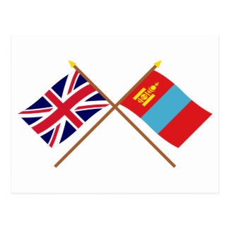 UK and Mongolia Crossed Flags Postcard