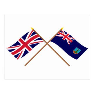 UK and Montserrat Crossed Flags Postcard