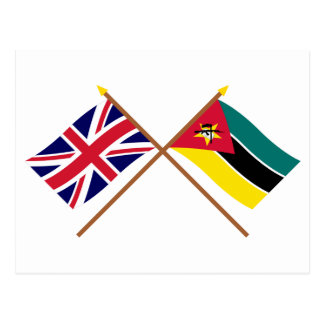 UK and Mozambique Crossed Flags Postcard