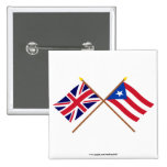 UK and Puerto Rico Crossed Flags Pinback Buttons