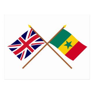 UK and Senegal Crossed Flags Postcard