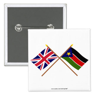 UK and Southern Sudan Crossed Flags Pinback Buttons