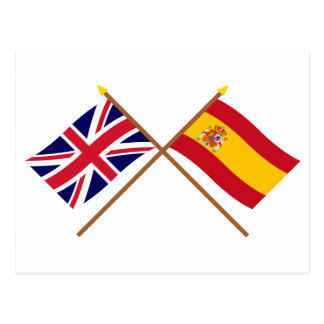 UK and Spain Crossed Flags Post Card