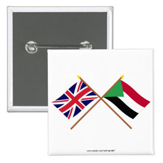 UK and Sudan Crossed Flags Buttons