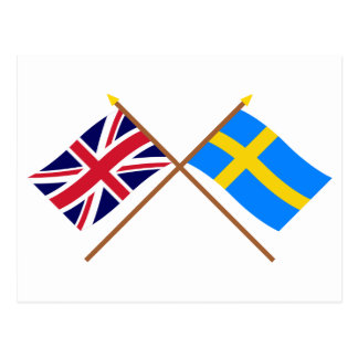 UK and Sweden Crossed Flags Postcard