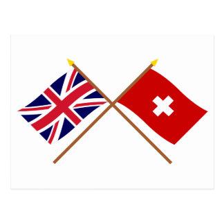 UK and Switzerland Crossed Flags Postcard