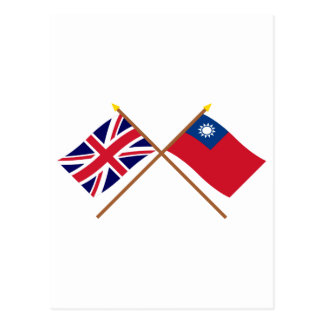 UK and Taiwan Crossed Flags Postcard