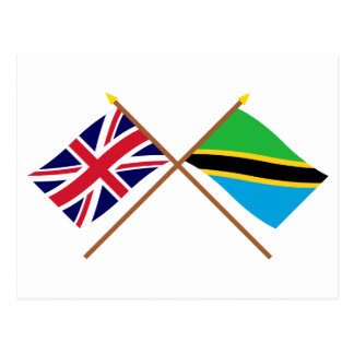UK and Tanzania Crossed Flags Postcard