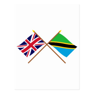 UK and Tanzania Crossed Flags Postcard