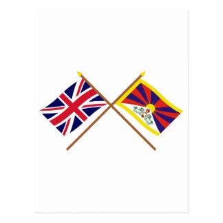 UK and Tibet Crossed Flags Postcard