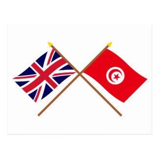 UK and Tunisia Crossed Flags Postcard
