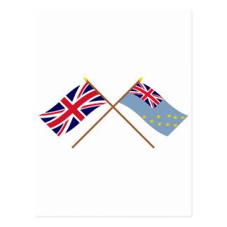 UK and Tuvalu Crossed Flags Postcard