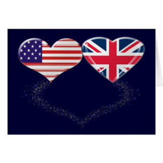 UK and USA Hearts Flag and Ticker tape Greeting Cards