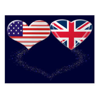 UK and USA Hearts Flag and Ticker tape Postcard