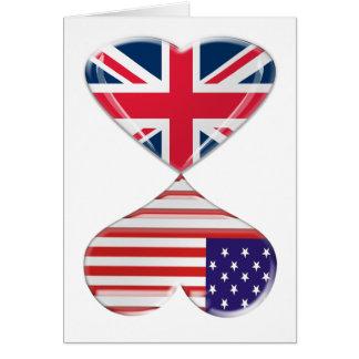 UK and USA Hearts Flag Art Greeting Card