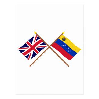 UK and Venezuela Crossed Flags Postcard